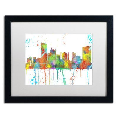"Trademark Art ""Toledo Ohio Skyline "" by Marlene Watson Matted Framed Graphic Art Size: 16"" H x 20"" W x 0.5"" D, Frame Color: Black"