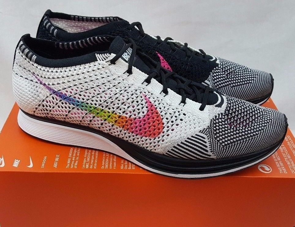 f0f379f4ab1a nike flyknit racer lgbt athletic shoes coding size 10 black white men  trainer shoes black and