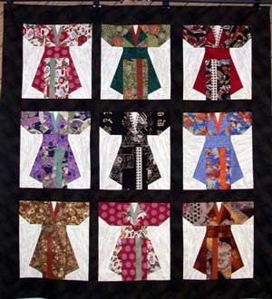 Kimonos Quilt Pattern Wall Hanging Paper Piece Foundation Quilting ... : chinese quilt patterns - Adamdwight.com