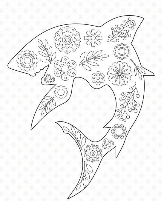 50 Adult Coloring Book Pages Shark Adult coloring and Coloring books