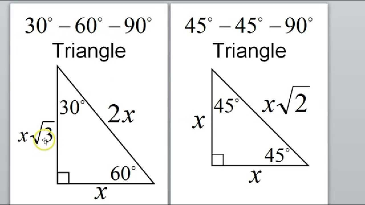 Day 1 Hw Special Right Triangles 45 45 90 30 60 90 Special