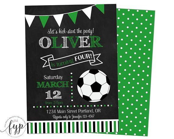 Soccer Party Invitation Printable Sports Birthday Invitation