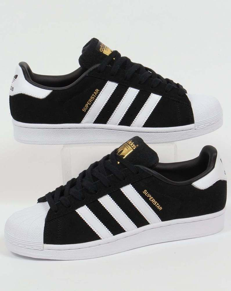 468af607b95 Adidas Originals - Adidas Superstar Suede Trainers in Black   White - shell  toe