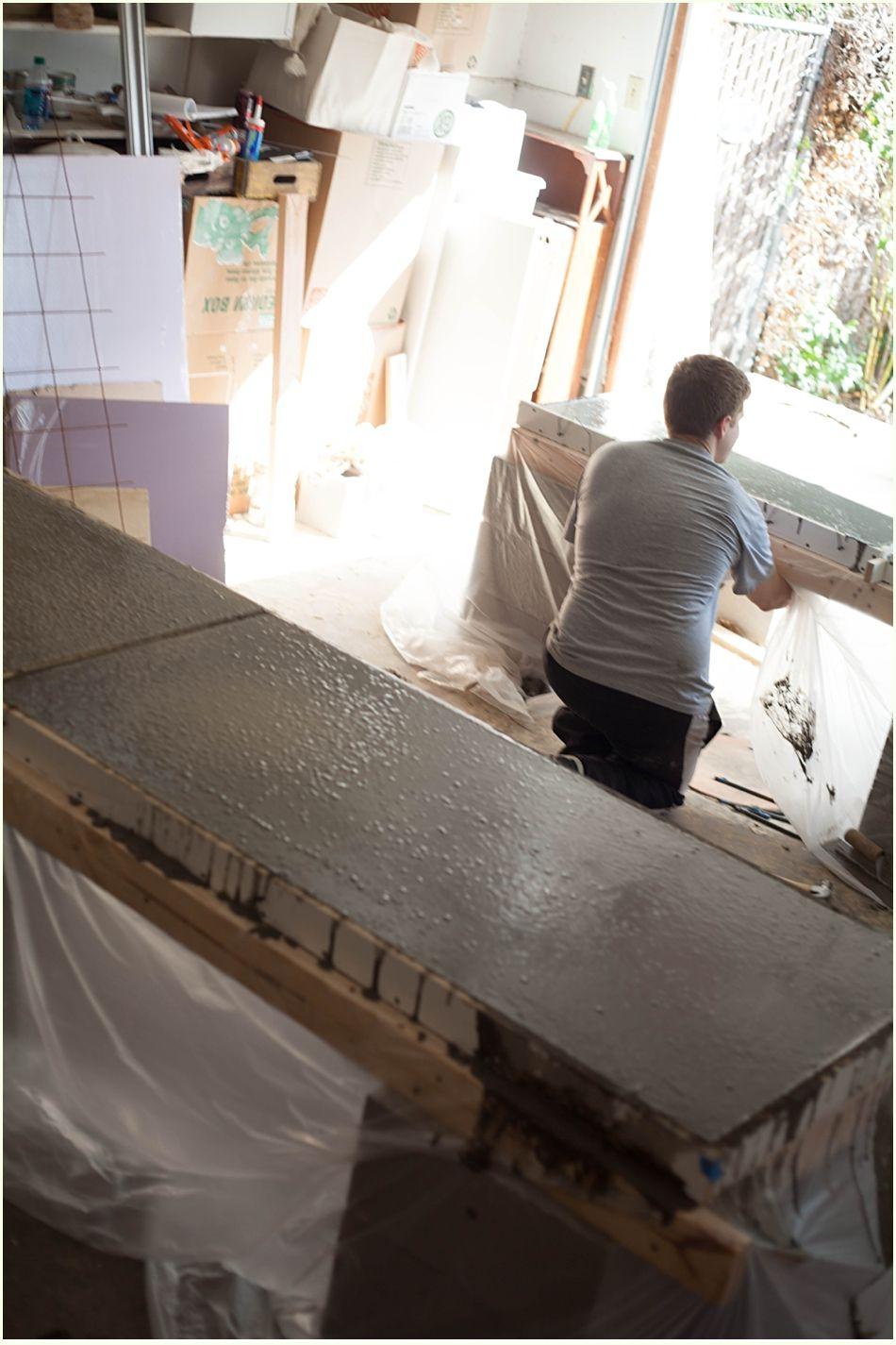 bricolaje encimeras de hormign y una de la cocina ejecutar para resplandor