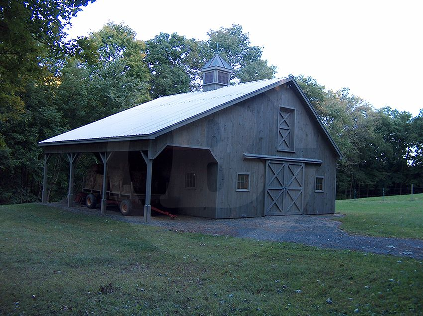 Stall barn with 8 x 30 open shed overhang custom cupola for Open pole barn