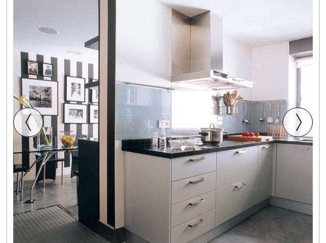 Cocina blanca cubierta negra cocinas Pinterest