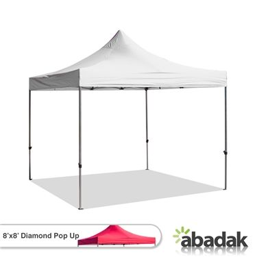 The Diamond Pop Up Tent - 8' x 8'  When selling your goods at a marketplace or if you're simply having a shade on a sunny day at the beach, we recommend the Diamond Pop Up Tent - 8' x 8' as your outdoor protection. Water corrosion and salt air won't be a problem for this product. It incredibly resists these harmful agents.  So if you're looking for affordable tents that are of high quality, choose the Diamond Pop Up Tents - 8' x 8'.