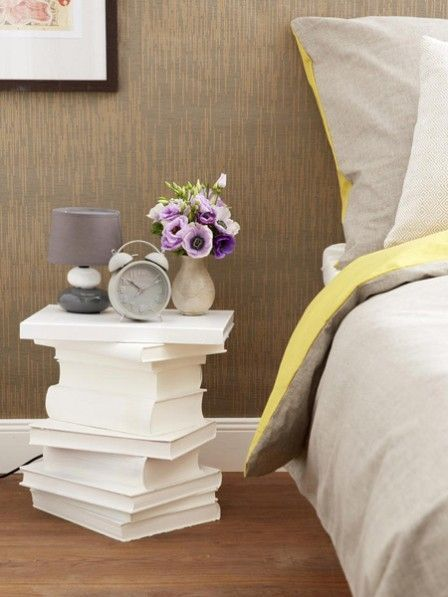 Diy stacked books end table or nightstand