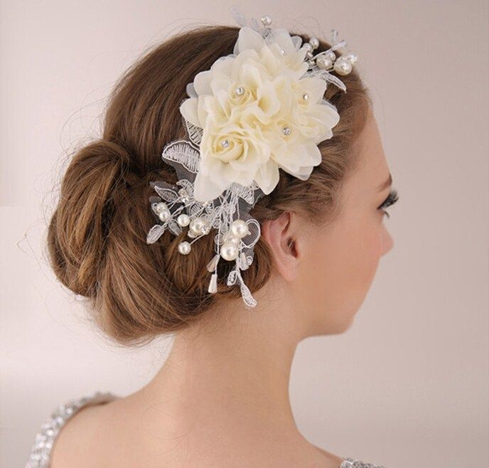 髪飾りヘッドドレス/ヘアアクセサリー/フラワー ウェディング/ウエディング/ブライダル 造花 結婚