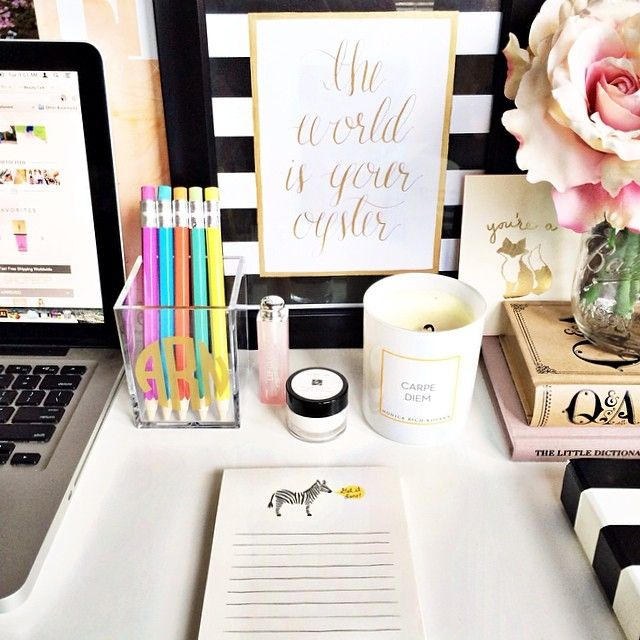 Desk styling via The Teacher Diva