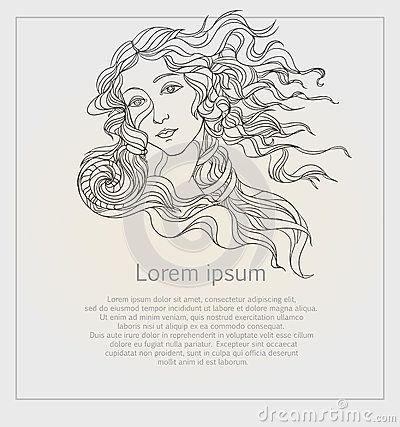 Aphrodite Greek Goddess Love Beauty Vector Illustration Birth Venus Botticelli-6 ... #aphrodite #beauty #birth #goddess #greek #illustration #ModedesignTattoos #vector