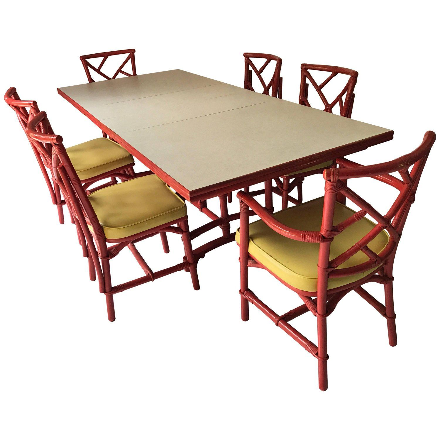 Midcentury Red Bamboo Chinese Chippendale Dining Set ...