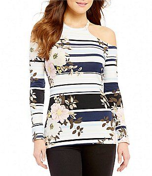 95fca3bdb76a0d Guess Jasmine Striped Floral-Printed Cold Shoulder Long-Sleeve Top ...