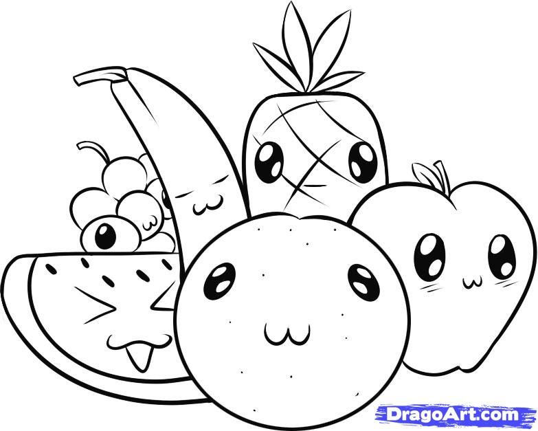 Cute Fruit Pictures Cartoon Coloring Pages Fruits Drawing Cute Food Drawings