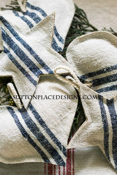 Grain Sack Christmas Ornaments from Sutton Place Designs