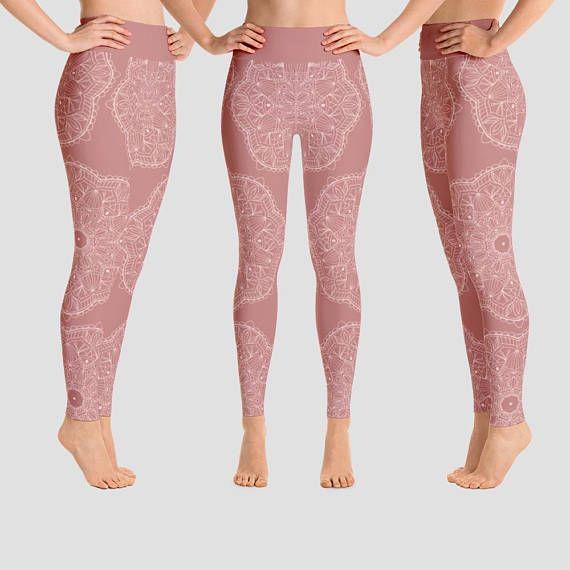 Mandala Yoga Pants Blush Pink Leggings Mandala Art Pants Yoga