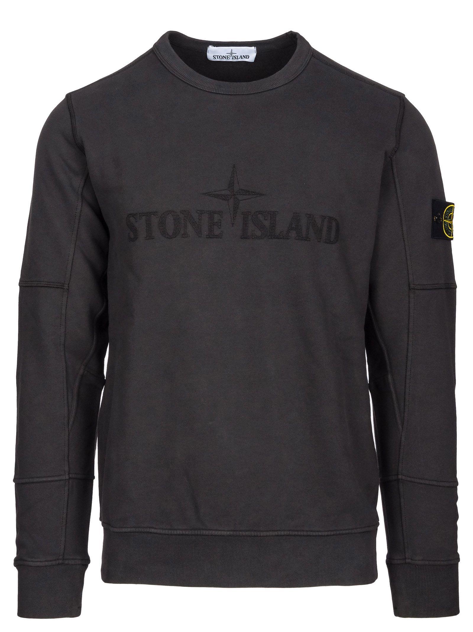 Crew Neck Sweatshirt In Grigio Scuro Stone Island Clothing Stone Island Crew Neck Stone Island