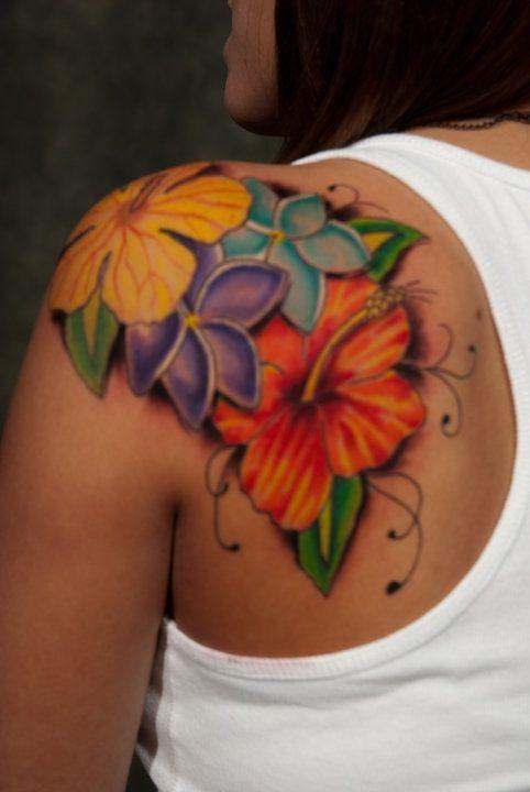 90bc202b7 Flowers, hibiscus, plumeria on shoulder. | Tattoos | Hibiscus tattoo ...