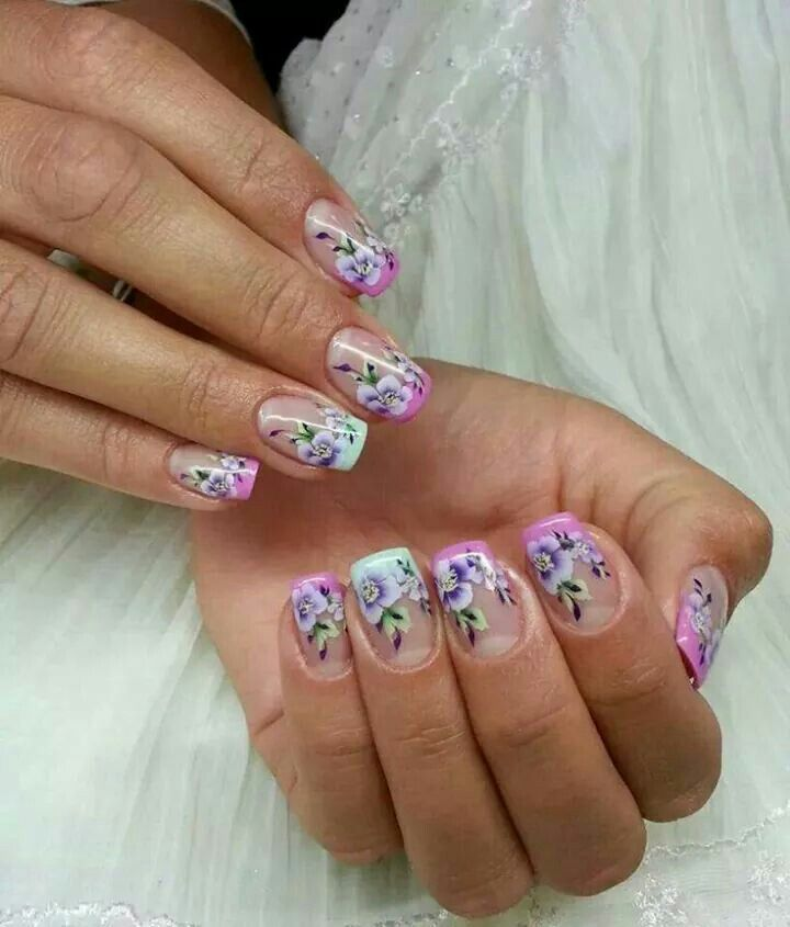 Painted flower nail art
