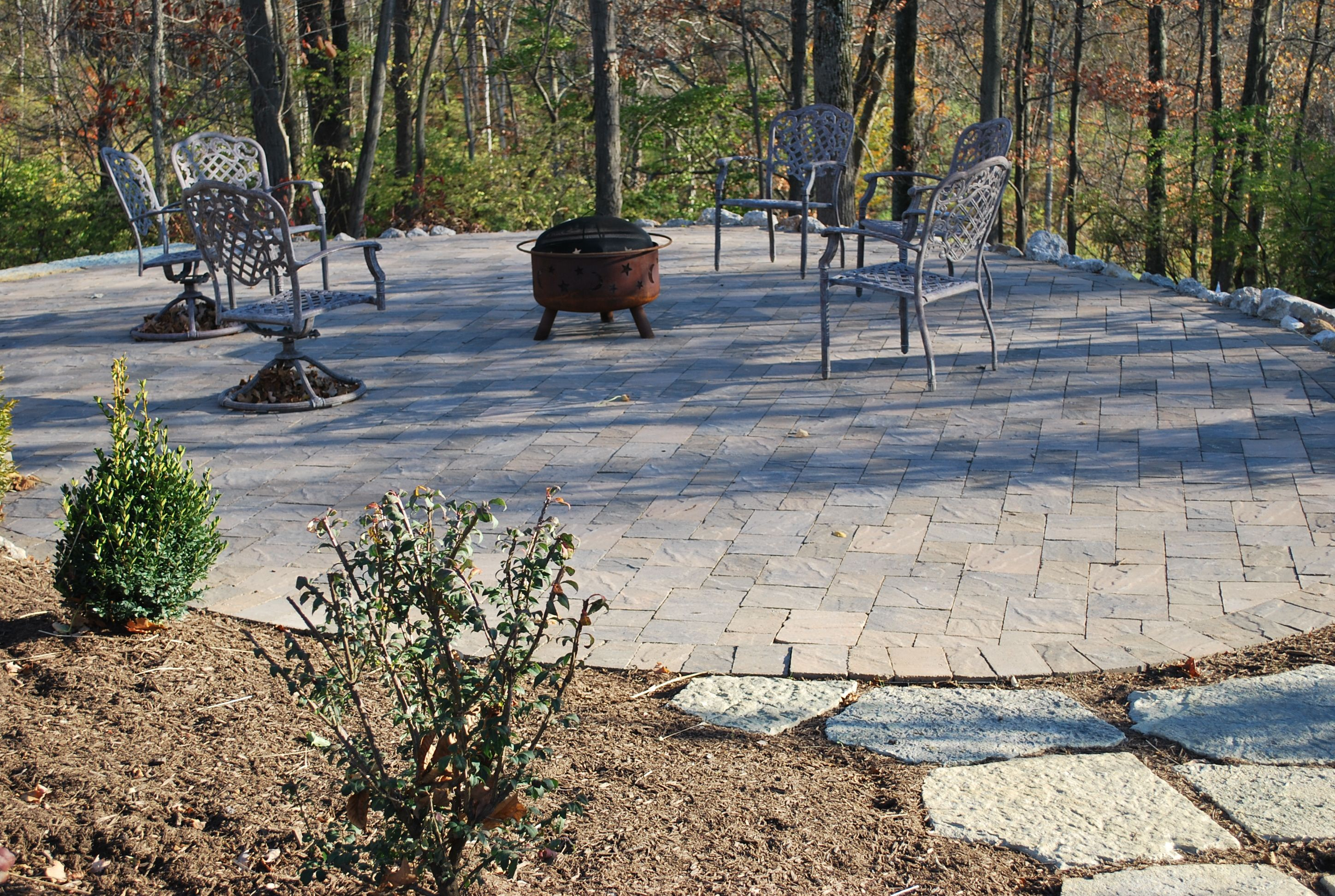 This walkway and patio was strategically planned and placed to enjoy the view.