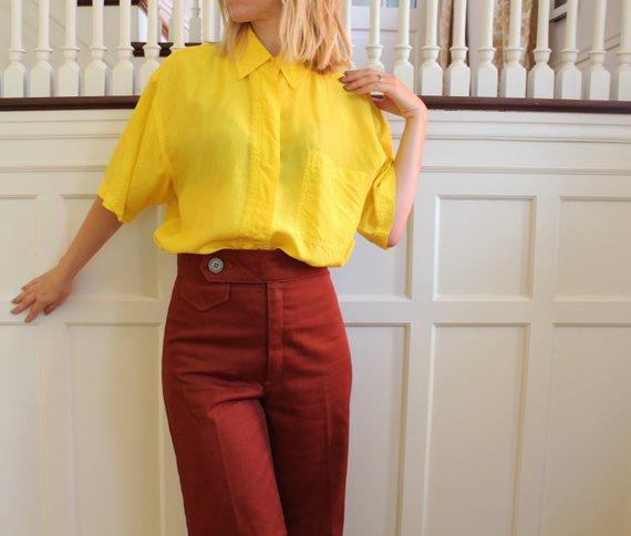 752ac9979538 Vintage Bright Yellow Short Sleeve Button Down Lightweight Silk Top Women s  Size S M Yellow Shorts