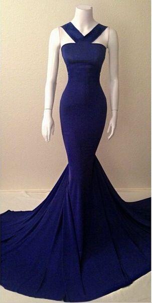 Handmade Royal Blue Mermaid Prom Dress2015, Long Prom Dresses, Formal Dresses, Evening Dresses