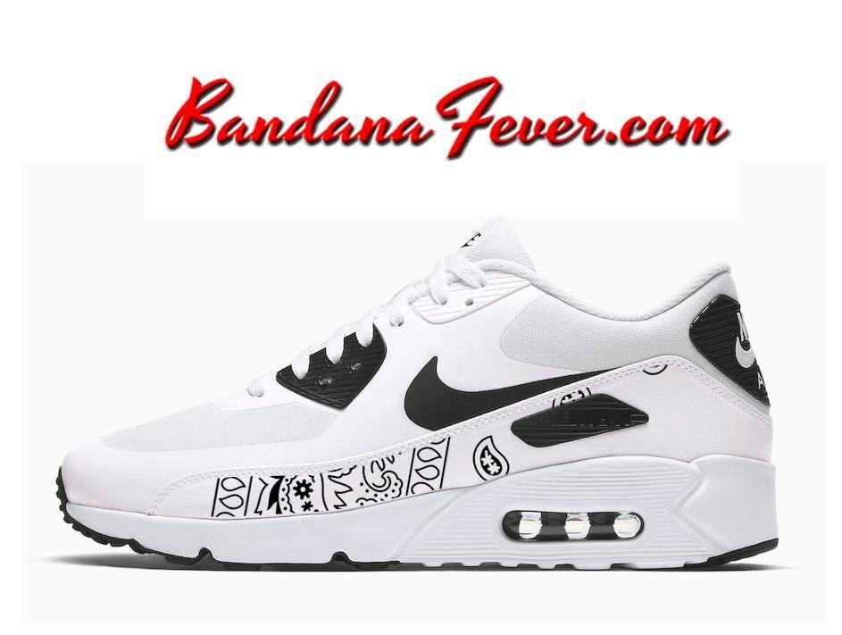 Custom Black Bandana Nike Air Max 90 Ultra Shoes White Black Black ... 9b2f12fc7787c