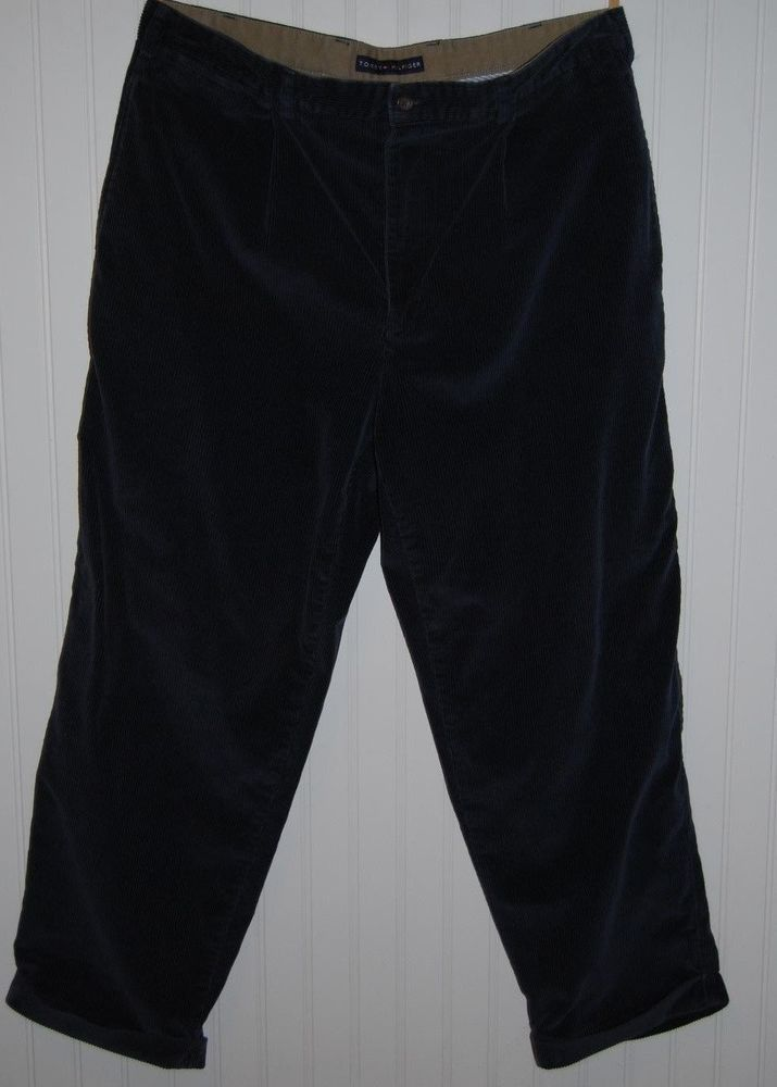 Tommy Hilfiger Corduroy Pants Mens 38X30 Pleated Cuffed Dark Blue  #TommyHilfiger #Corduroys