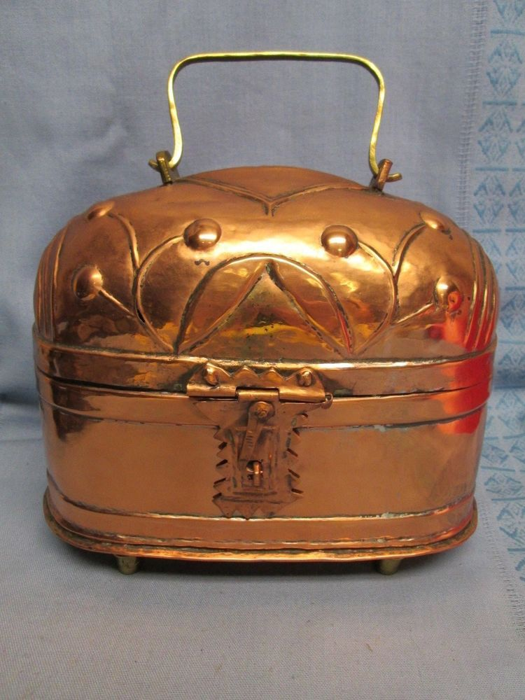 K251 vintage copper metal box with handle middle east