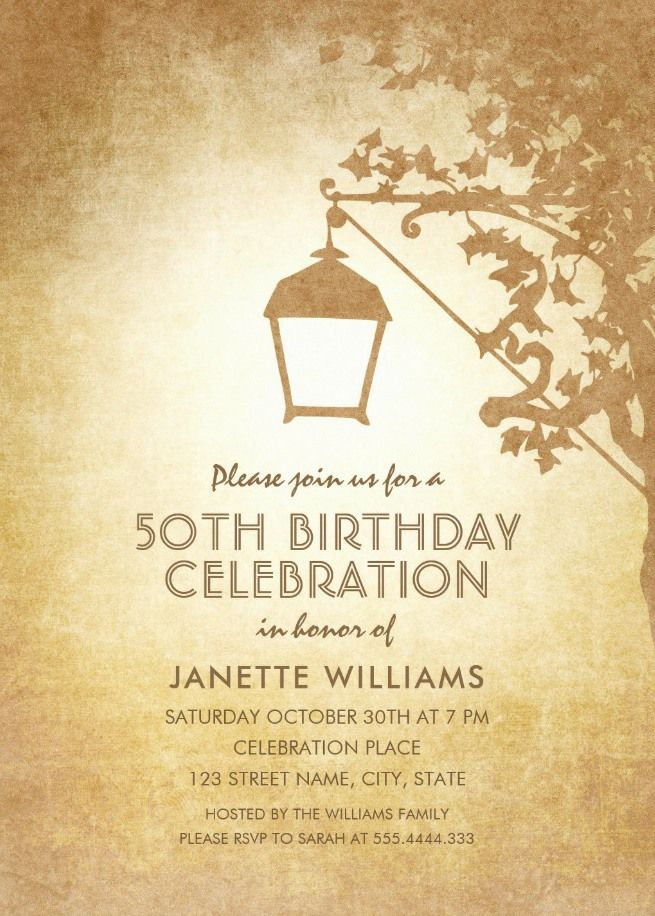 Vintage Garden 50th Birthday Invitations - Rustic Country Lamp ...