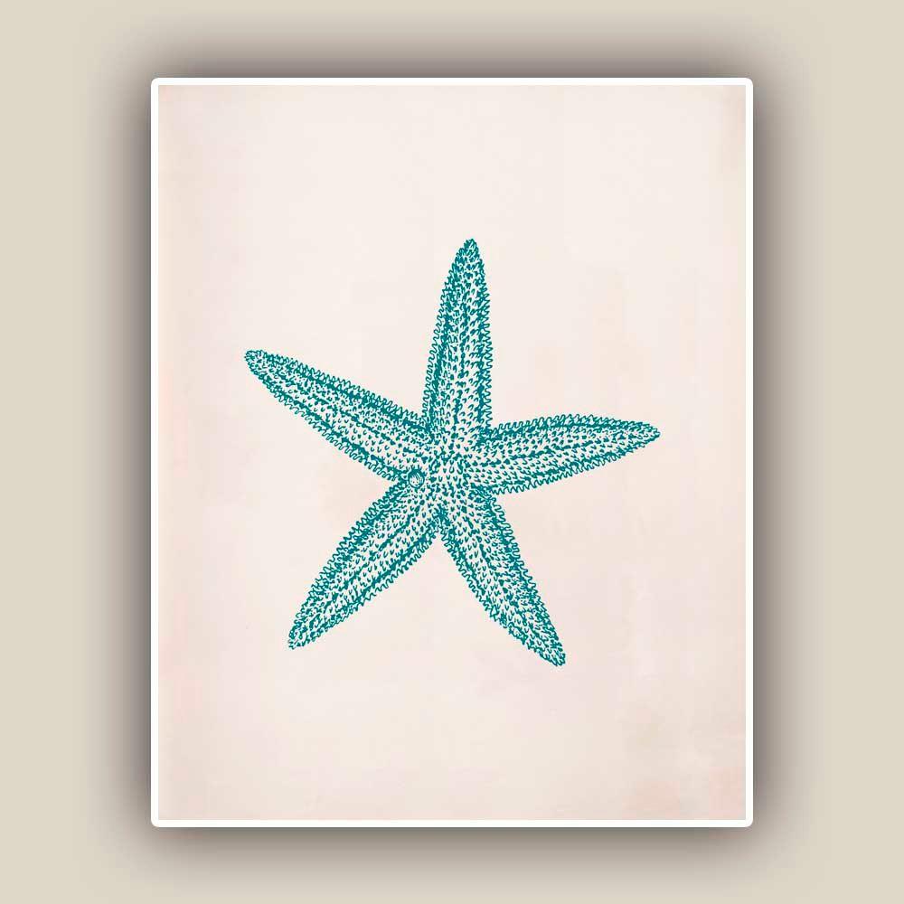 Starfish print sea star x print marine wall decor nautical