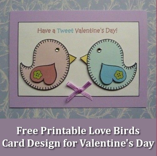 Free printable love birds design for a quick and easy handmade card this Valentine's Day