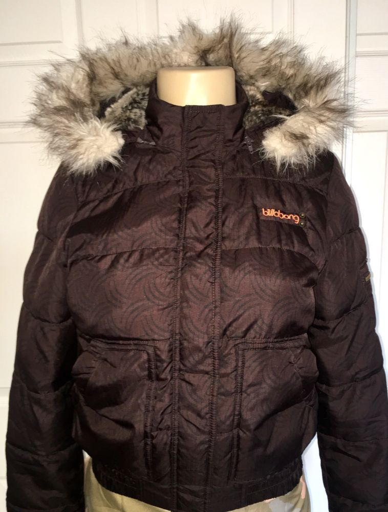Women S Puffer Jacket Bomber With Faux Fur Hood Trim Surfer Brown