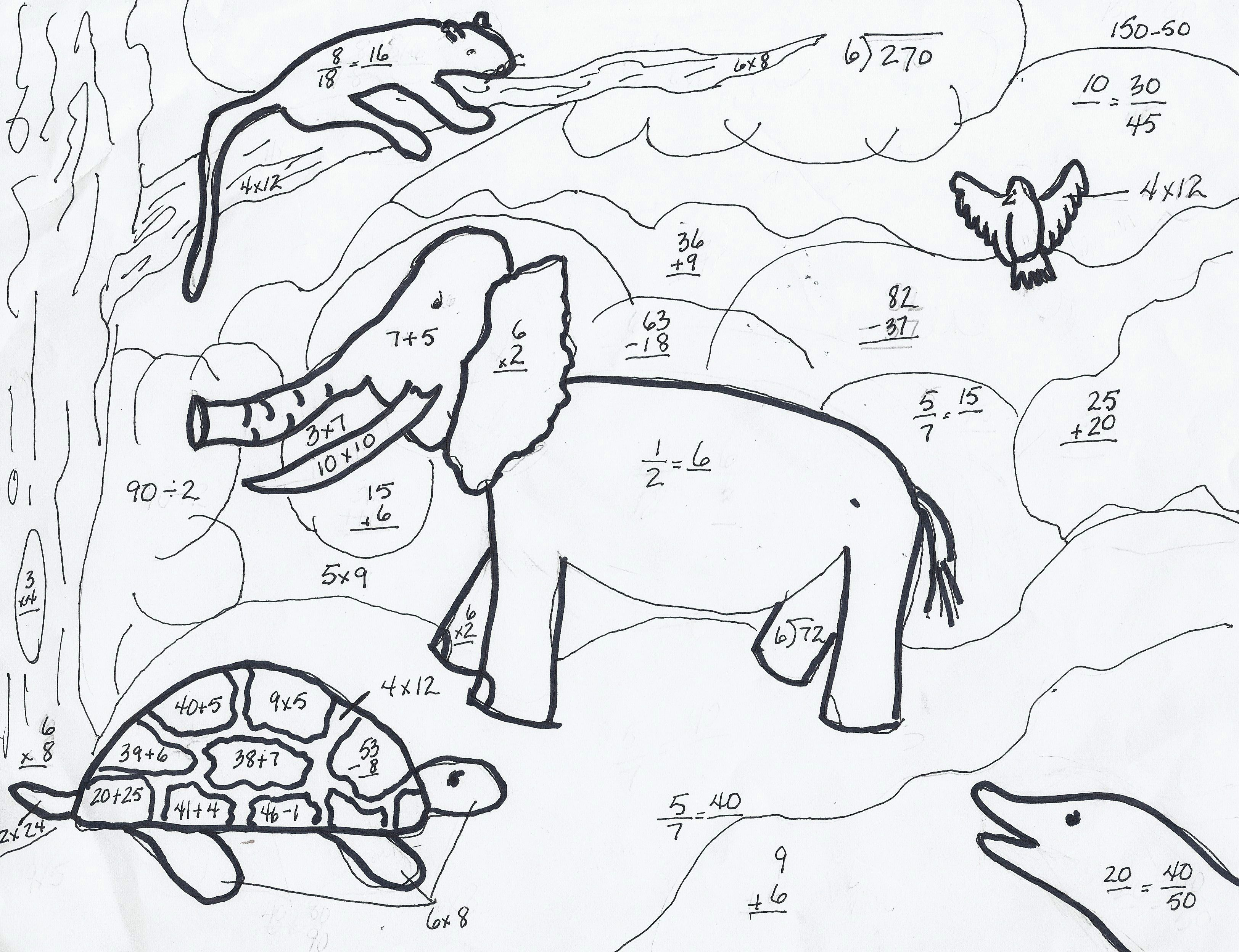 Shivan S Endangered Animals Math Coloring Sheet