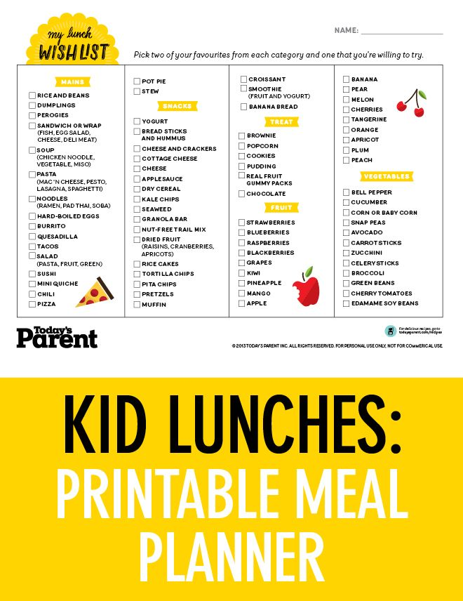 School Lunch Planner Printable  School Lunch Lunches And Planners