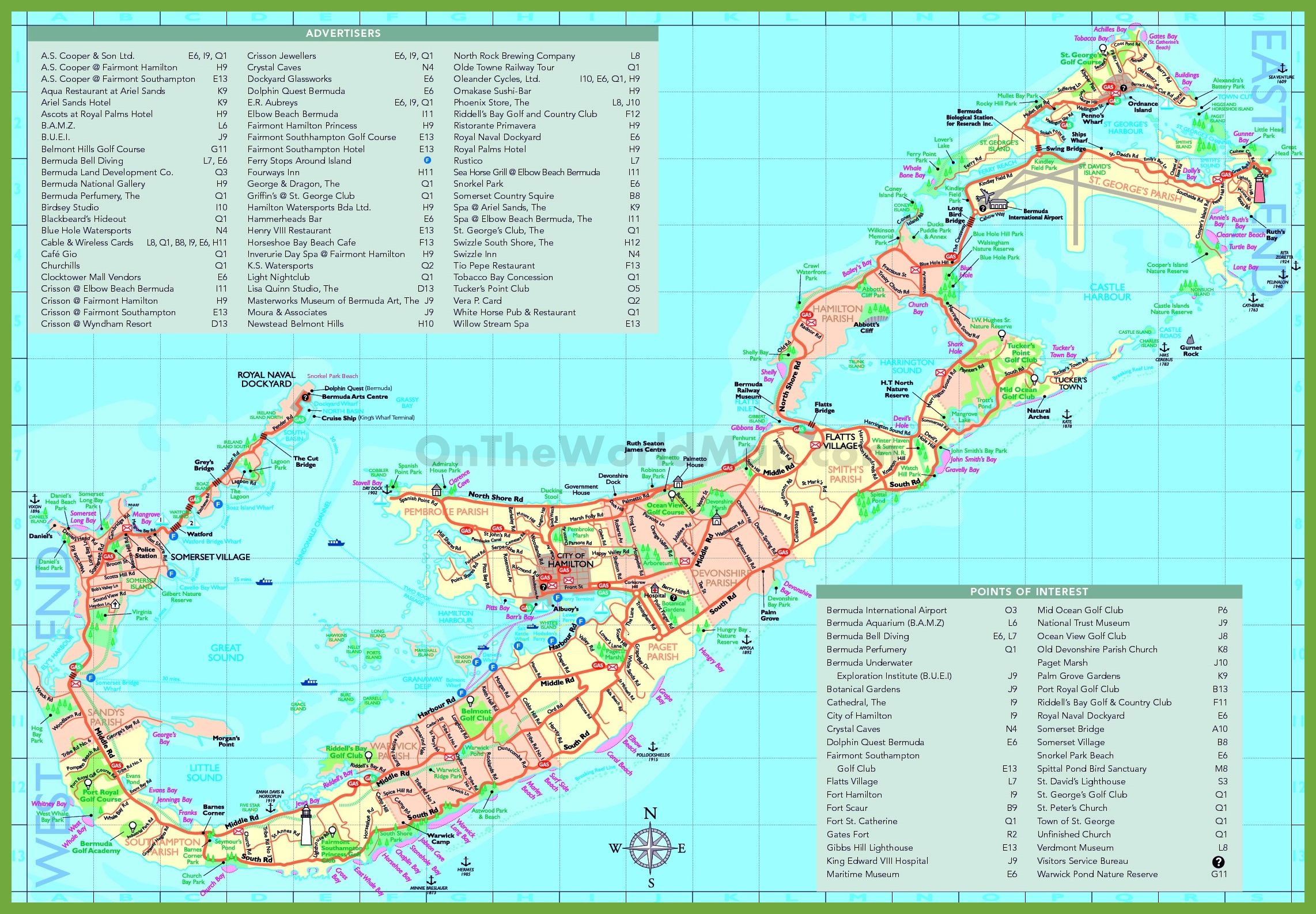 Travel map of Bermuda with attractions | Travel in 2019 | Bermuda ...