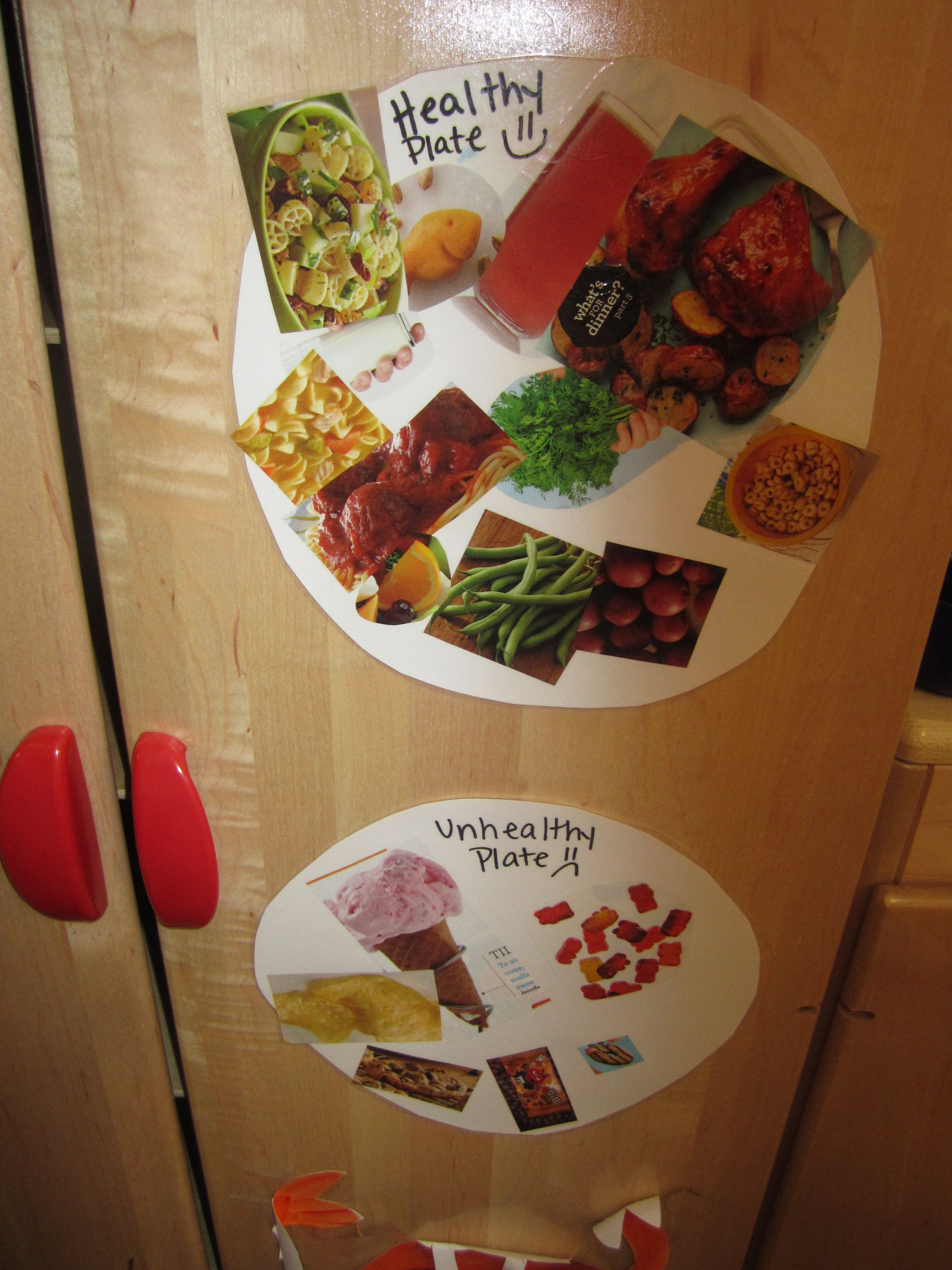 Healthy And Unhealthy Plate The Kids Cut Out Foods Put Them On Corresponding Plates