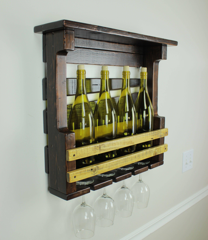 Rustic Wine Rack Wall Mounted Decor