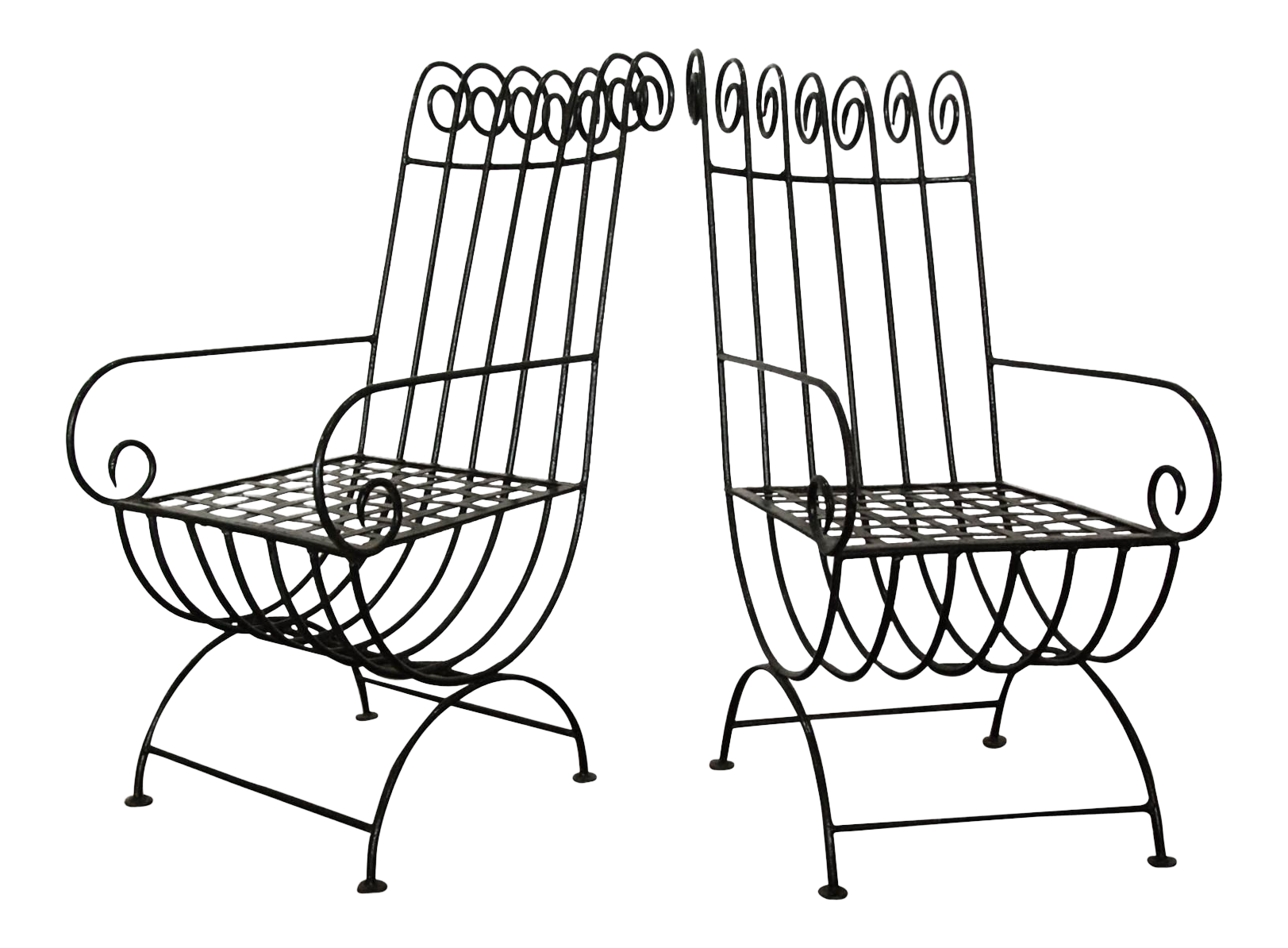 1940s, French, French Country, Black, Forged Iron, Garden Chairs  a Pair is part of Country garden Furniture - Circa 1940 A dramatic pair of highback, French, 1940s style iron garden chairs in the style of Mathieu Matégot with curved armrest and back scrolls  In as found original black painted finish