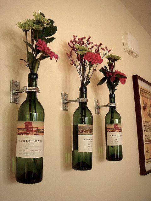 wine bottle vases,cute kitchen idea
