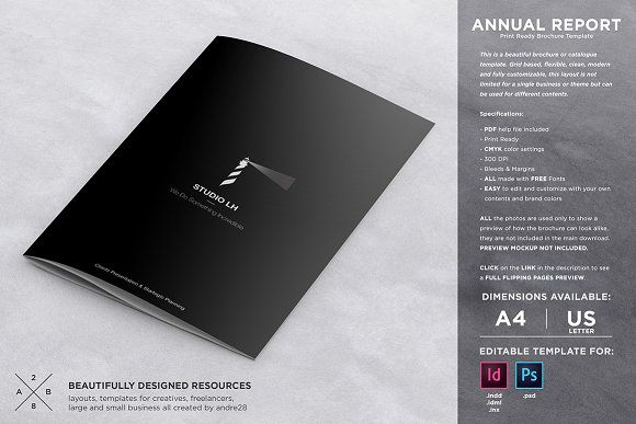 Annual Report \ Brochure Template by Andre28 on @creativemarket - free annual report templates