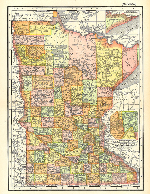 graphic relating to Printable Maps of Minnesota titled map of Minnesota, exclusive reward or house decor, printable