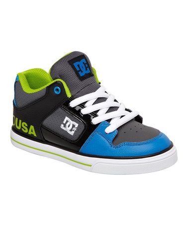 This Gray & Blue Radar Leather Sneaker - Kids by DC is perfect! #zulilyfinds