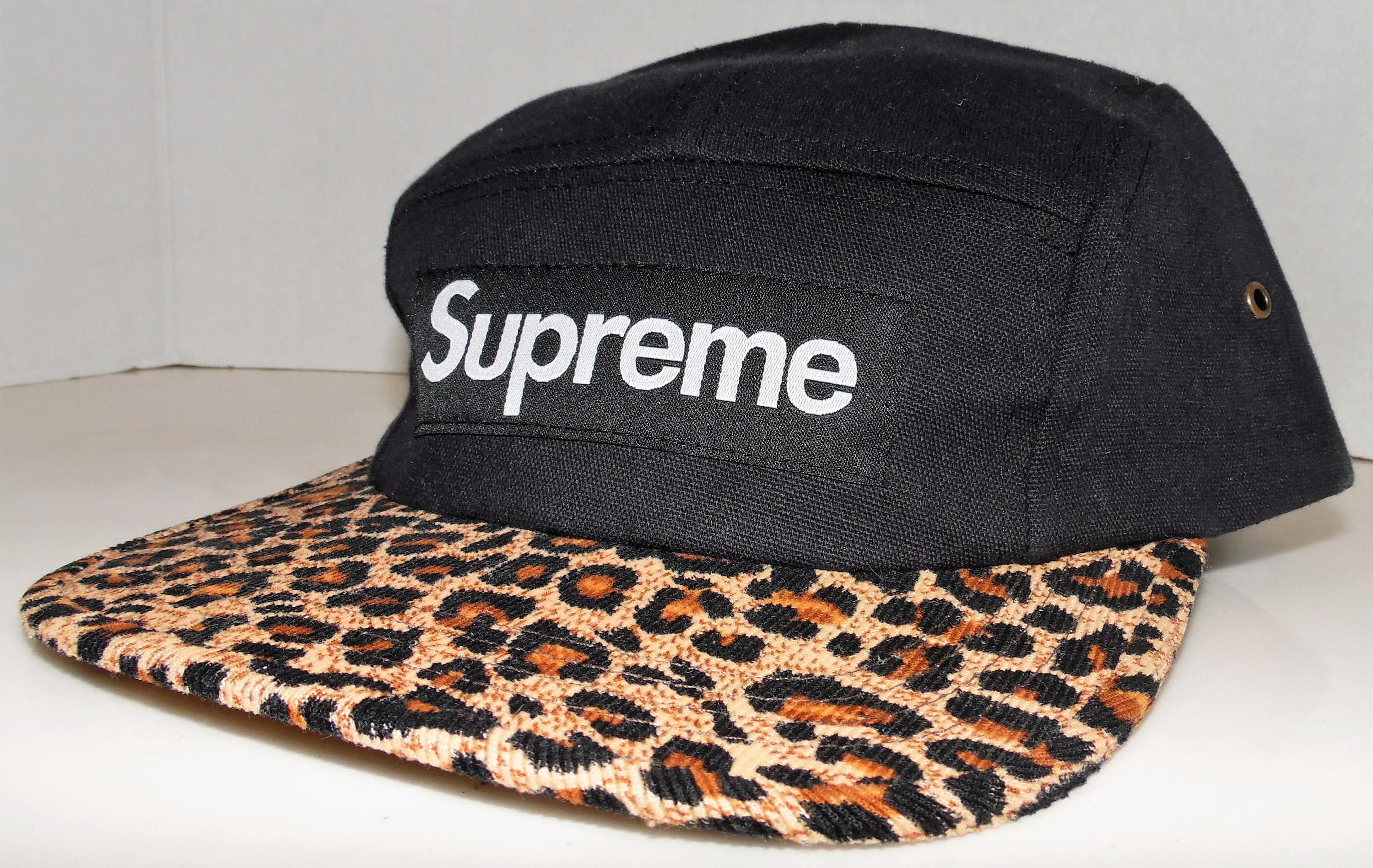 4c282095a SUPREME Leopard Print Bill 5 Panel Black Strapback Hat Cap Made In USA by  VintageStockJax on Etsy