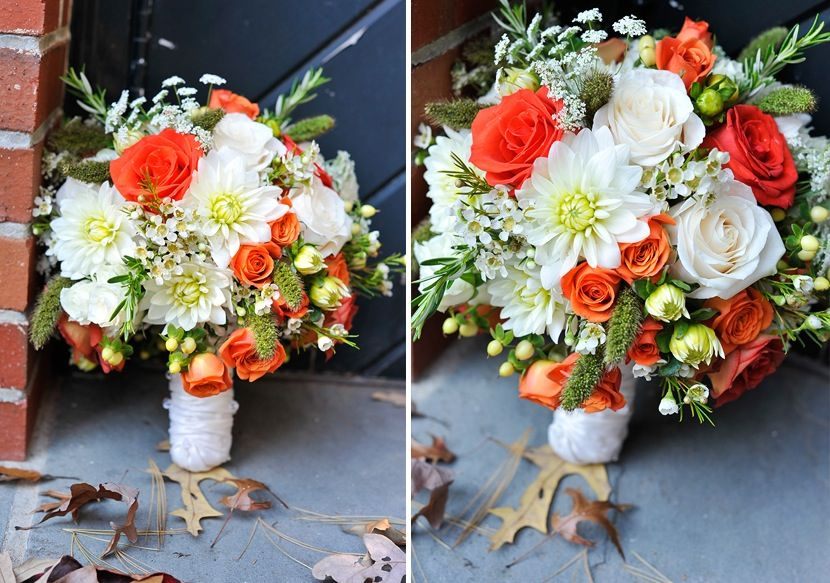 Bride Bouquet Ivory With Coral | Fall-wedding-flowers-bouquets-and ...
