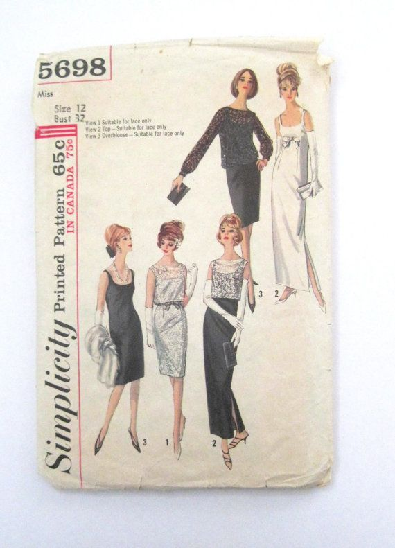 Vintage 1960s Sewing Pattern for Misses Dress in Two Lengths with Overblouse and Top: Sleeveless sheath dress has low neckline, back zipper closing.