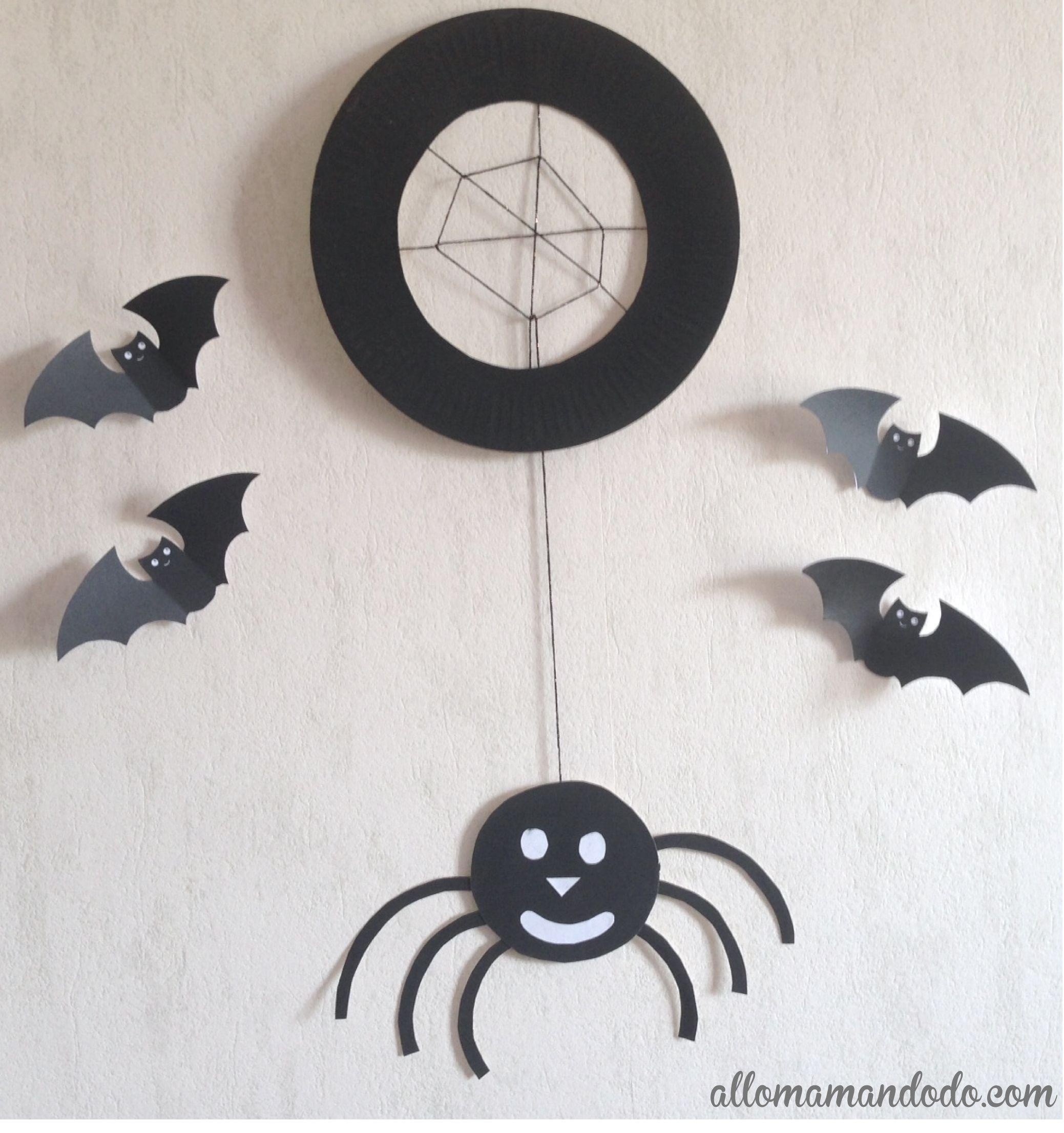 tuto diy d 39 halloween l 39 araign e base d 39 assiette en. Black Bedroom Furniture Sets. Home Design Ideas