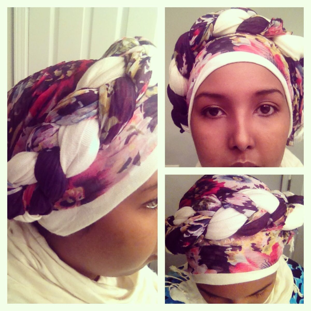 Braided turban style with both a flowery and white scarves