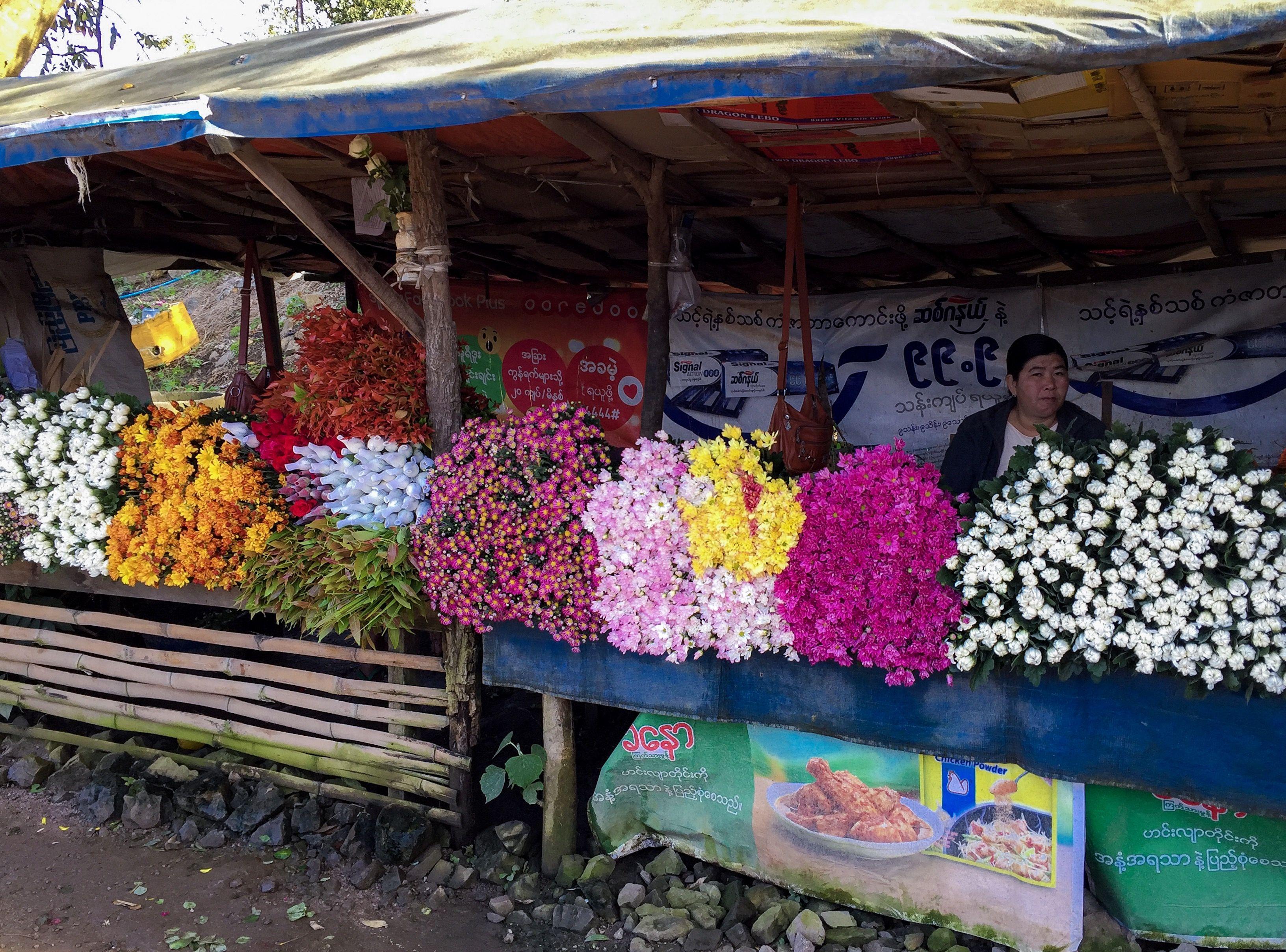 Flower market in Pyin Oo Lwin. myanmartrip August 2017