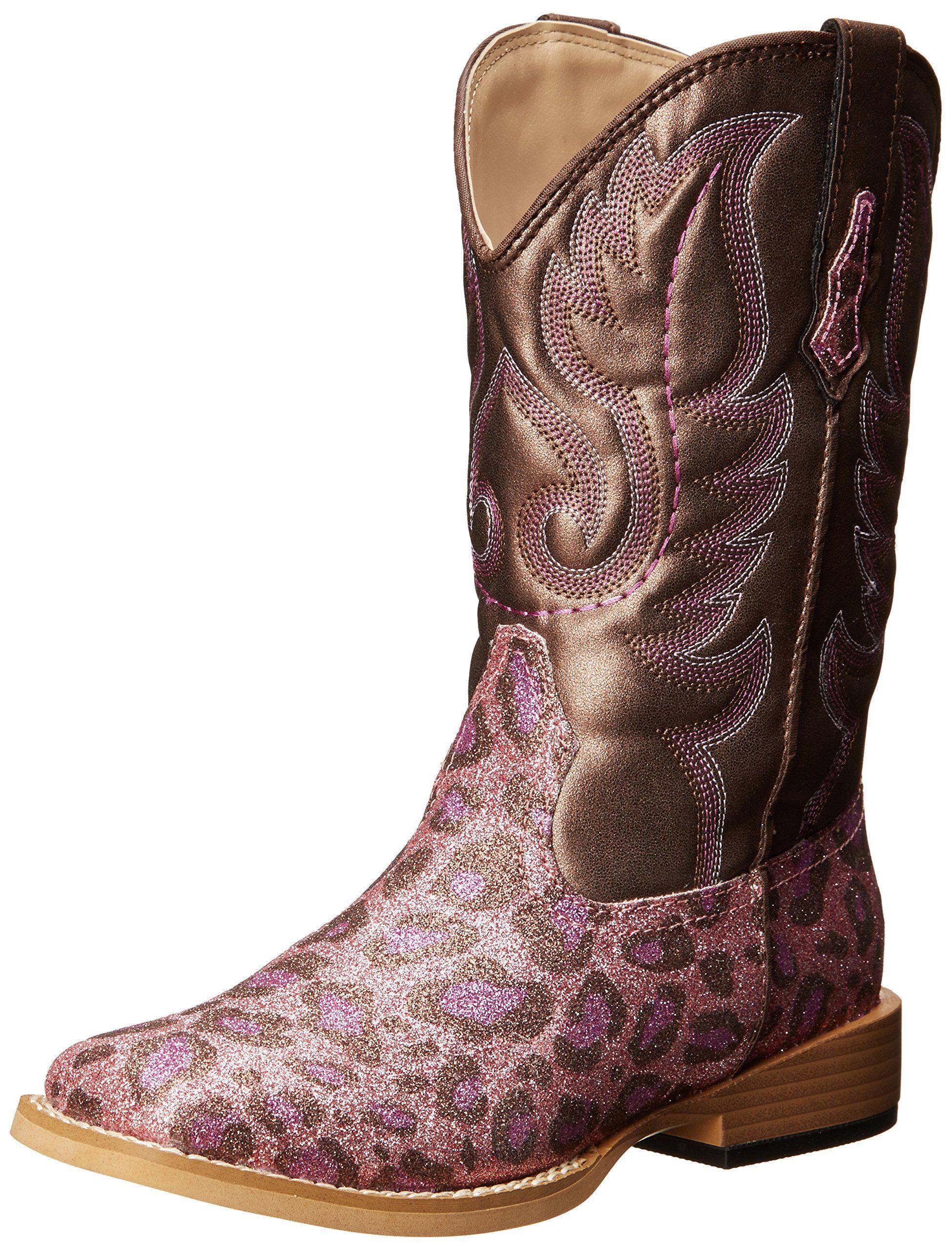 886468e7b49 Flower girl boots    Roper Square Toe Glitter Leopard Western Boot ...